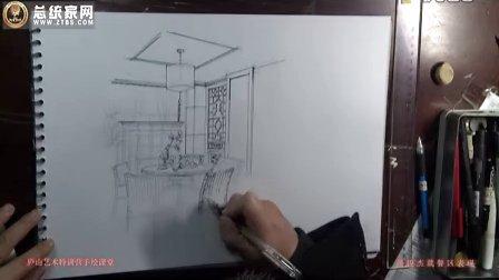 庐山手绘艺术特训营14期手绘课堂-潘俊杰-就餐区表现