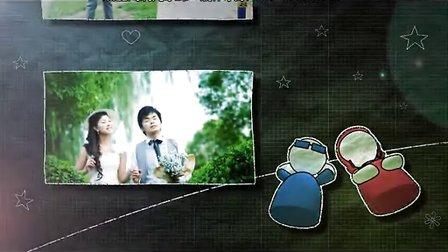 幸福小两口唯美婚礼开场预告视频制作浪漫温馨婚纱MV