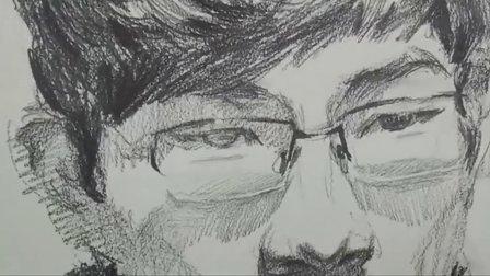 朱传奇素描示范和讲解 戴眼镜男青年