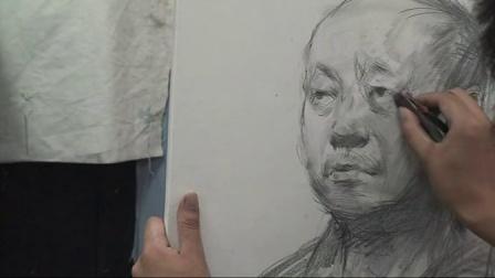 郭创精?#36153;?#22530;www.9dms.com九度美术视频教学系列-4男老年素描头像