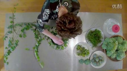 【醉花网】DIY制作非常漂亮的多肉植物花束瓶插视频