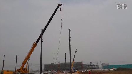 老友钢结构安装(安徽名筑钢塔工程有限公司),钢柱吊装.