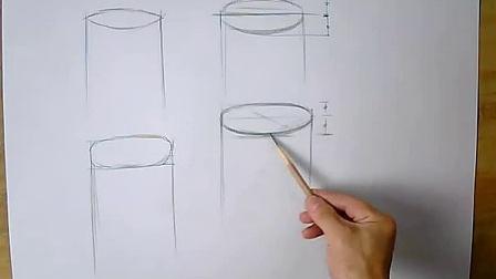 素描入门教程 素描基础教程学习圆柱体顶,底面错误和正确的画法