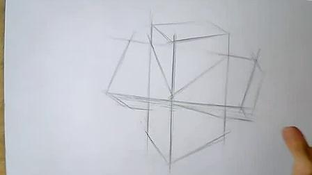 零基础素描初学 素描教程 素描入门教程 素描基础教程学习四棱柱穿插