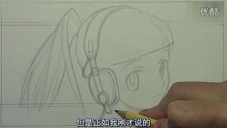 铅笔手绘漫画教程-超萌戴耳机美少女