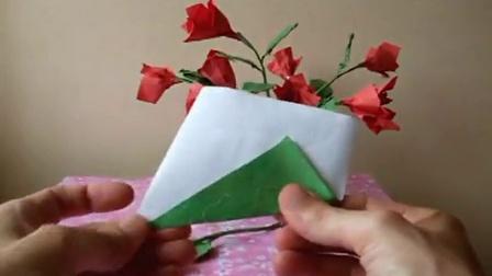 最新diy折纸教程-玫瑰花束折法 折纸视频大全.flv