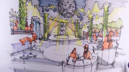 ktv大堂设计手绘表现2【马克笔】