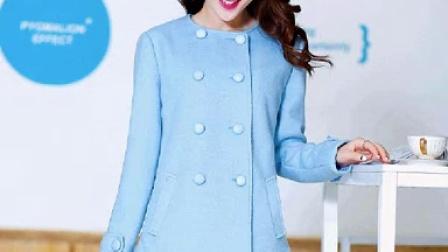 2014秋冬新款韓版修身毛領毛呢外套女士羊毛呢子大衣氣質時尚女裝