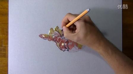 【藤缠楼】意大利立体画家手绘飞行测试中的钢铁侠3d