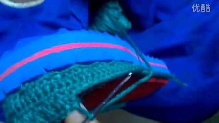 手工毛线拖鞋鞋面长针钩织视频视频