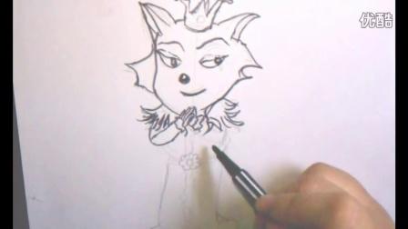 《喜羊羊与灰太狼》之红太狼 小耳朵简笔画教程