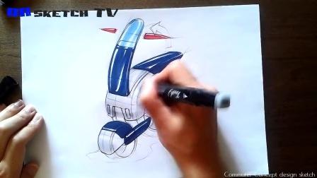 迷你电动车设计手绘马克笔上色教程