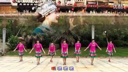 纯艺舞吧 广场舞 郎在高山 打一望  团体正面