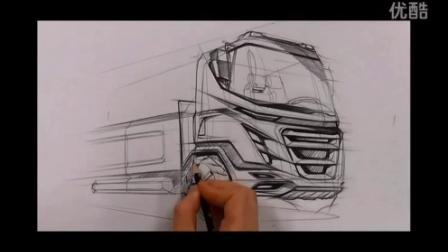 卡车手绘工业设计二维表达