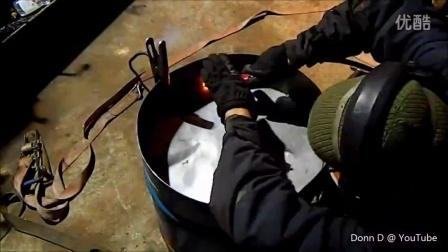 油桶制作火箭炉过程油桶