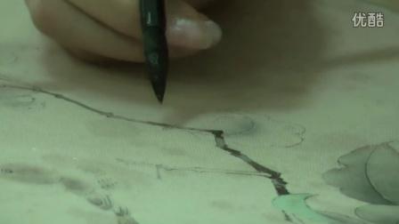 中国工笔画教学——果熟来禽图临摹步骤6枝干的画法
