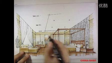 室內設計手繪教程 光華手繪別墅臥室設計表現150911