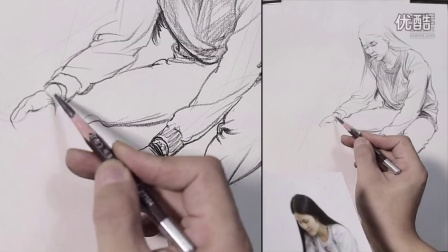 国君美术 刘雪松人物速写坐姿 坐姿打开工具箱的女青年 速写教学视频