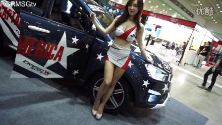 2015韩国首尔车展香车美女性感车模  大波超短裙