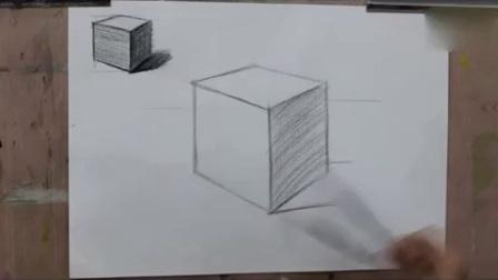 立方体 素描正方体的画法 石膏几何体 素描入门素描基础视频教程额图片