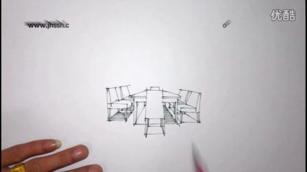 室内餐桌椅手绘表现