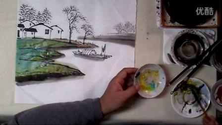 山水画教程 学画小景画10 湖岸渔村下