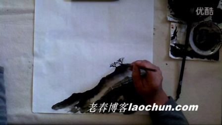 山水画技法 学画小景画1湖畔桃花红(上)