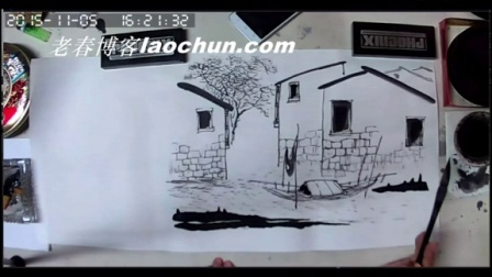 国画学习 由简到繁画水乡11