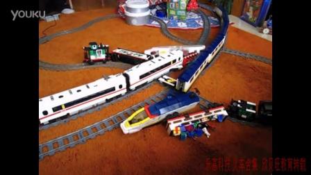 [乐高火车合集 撞车系列]LEGO train crash #2 high speed Eurostar and ICE 3 on 9V double t