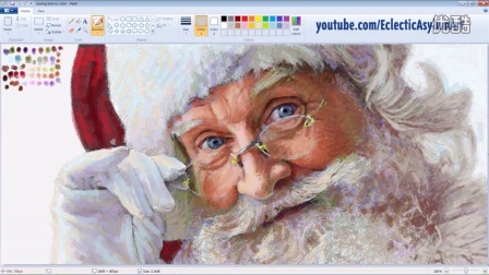 大触用微软画图工具画了一个超逼真的圣诞老人