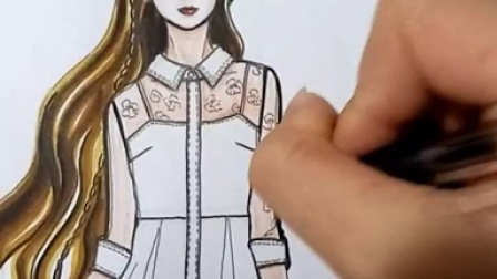 服装设计效果图手绘全过程——湖畔女装蕾丝连衣裙