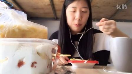 中国吃播VV之蛋包饭意面三明治蛋挞及奶油蛋糕