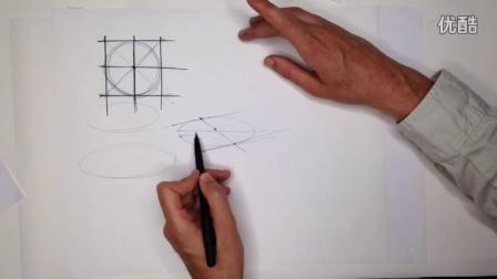 工业设计手绘几何体椭圆正常画法教程1