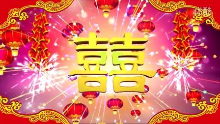 婚庆-双喜 (8)-大红喜庆鞭炮声红灯笼中式婚礼双囍字拜堂成亲动态背景视频素材