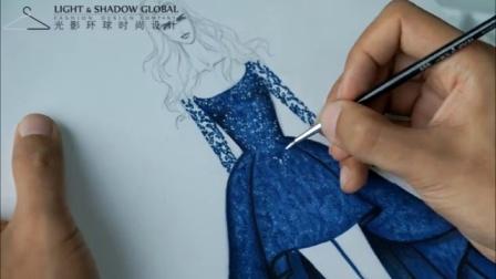 服裝設計手繪教程10  閃光面料繪畫(二)