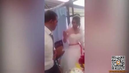 新人互喂蛋糕 新娘的动作却让新郎一秒暴怒 161002