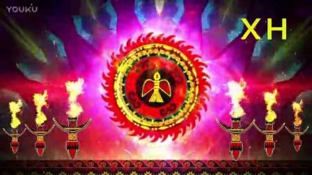 彝族舞蹈火舞苗族火把节舞蹈少数民族图腾花纹LED大屏幕背景视频素材