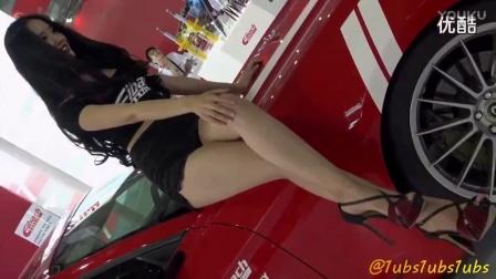【美女写真系列】32_性感美腿黑衣美女车模_韩国