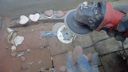 磨李晨的花朵心手工石头(2)玫瑰花视频教程制作方法步骤图片
