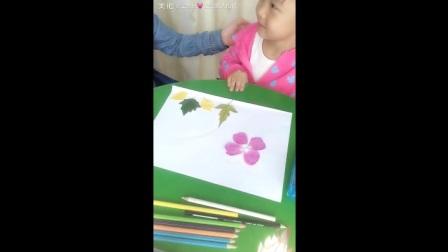 王教授和臭宝的树叶手工贴画