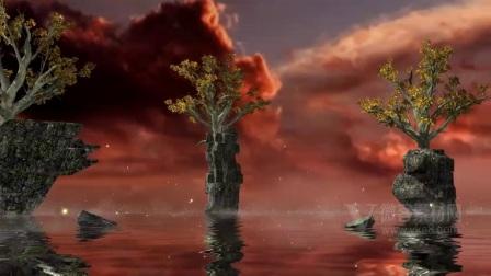 B643幻影场景与红色天空颗粒雾和水反射相机缩放