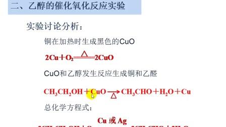 人教版_选修五_第三章 烃的含氧衍生物_第一节 醇 酚_醇的催化氧化反应微课