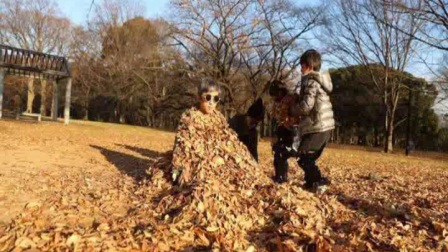 邓超被孙俪和等等妹妹一家三口用树叶埋了,邓