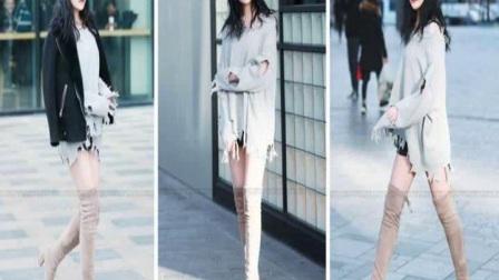 冬季街拍:时髦美女个性十足高挑修长的大长腿