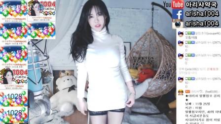 (高领白毛衣+黑丝)韩美女主播雅丽莎性感热舞