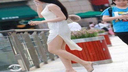 街拍美女白色薄纱无袖长裙,高开叉美腿美女