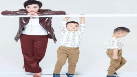 郝蕾的双胞胎儿子都这么大了!母子三人拍写真俏