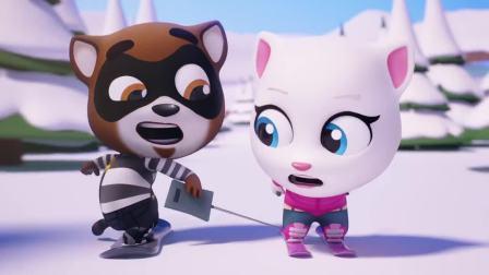 搞笑动画: 安吉拉比赛滑雪, 搞笑呆萌惹人爱
