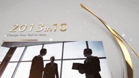 15张照片金色线条演绎企业历程时间发展宣传片头