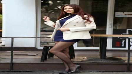 亚洲模特白色西装包臀裙黑丝美腿性感外拍写真